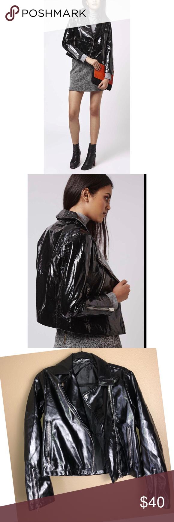 Topshop Patent Faux Leather Crop Moto Jacket Cropped Moto Jacket Topshop Moto Jacket [ 1740 x 580 Pixel ]