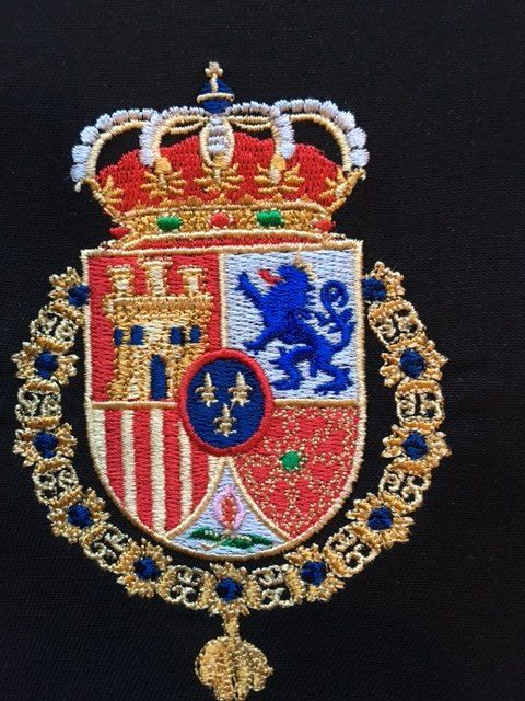 Spanish Royal Crown Crest Coat Of Arms Of The King Of Spain Etsy Coat Of Arms Machine Embroidery Designs Deadpool Fan Art