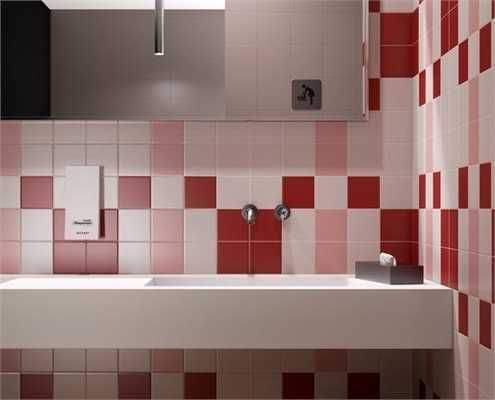 Modern Wall Tiles In Red Colors Creating Stunning Bathroom Design Bathroom Design Small Modern Modern Bathroom Colours Elegant Bathroom Flooring