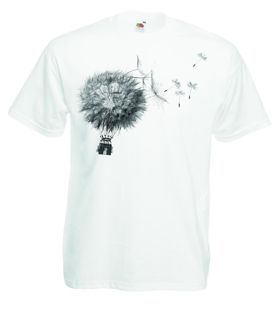 a78fe71022fd7 Dandelion hot air balloon t shirt. Whimsical graphic art tee for men ...