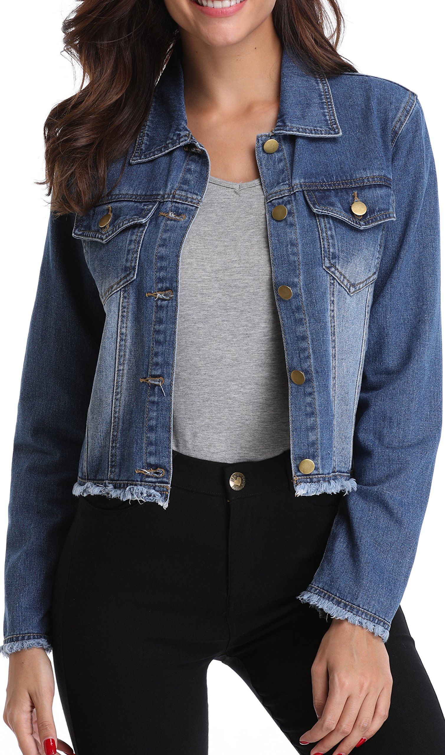 deb6a28b2bce32 MISS MOLY Jean Jacket Women s Frayed Washed Button Up Cropped Denim ...