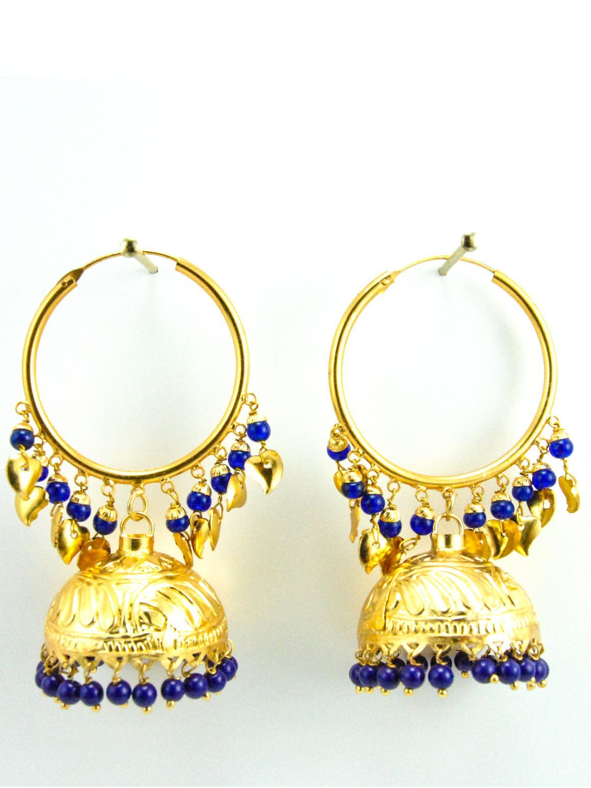 Desi Jhumka earrings with Gold leaves and Blue beads