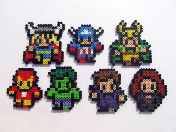 Avengers Chibi Perler Bead Coaster Set By Shandab Bugelperlen
