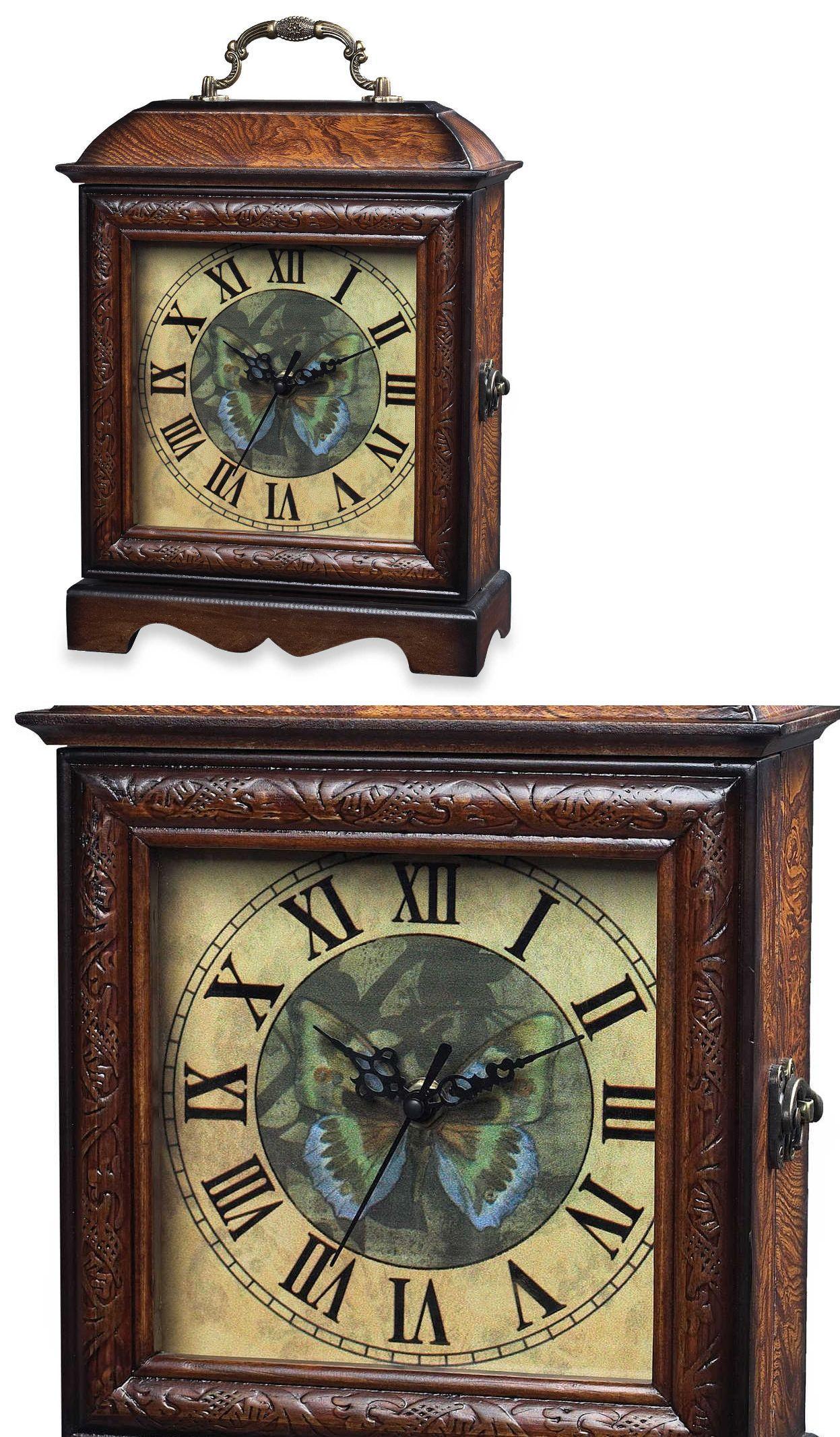 Desk Mantel And Shelf Clocks 175753: Green Butterfly Wood Clock Modern  Tabletop Mantle Desk Table