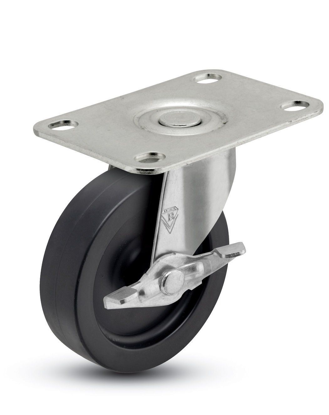 Shepherd Regent Series 2 1 2 Diameter Polyolefin Wheel Swivel Caster With Side Brake 2 Length X 1 3 16 Width Plate 95 Lbs Cap Swivel Casters Caster Swivel