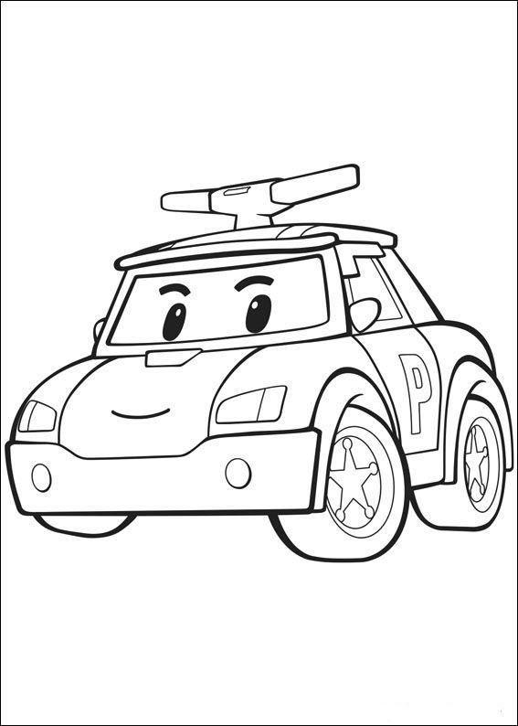 Robocar Poly Fargelegging for barn. Tegninger for utskrift og ...