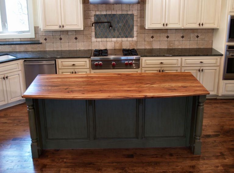 Kitchen Island Counter spalted pecan - custom wood countertops, butcher block countertops