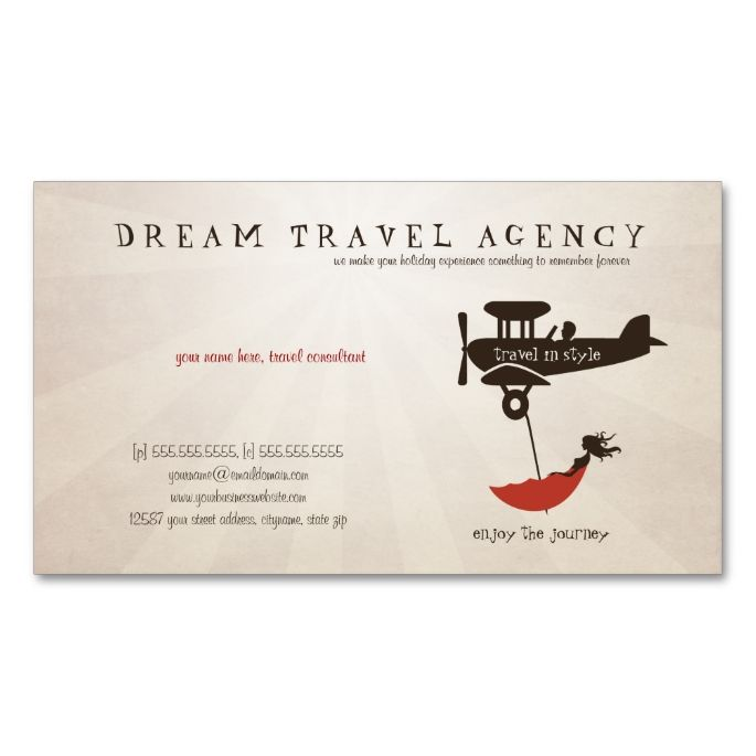 Dream Travel Agency Business Card Travel Business Card Templates
