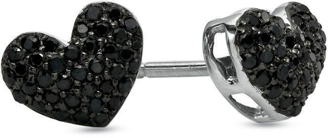 Zales 1/5 CT. T.w. Enhanced Black Diamond Puffed Heart Stud Earrings in Sterling Silver gH9bJ2X