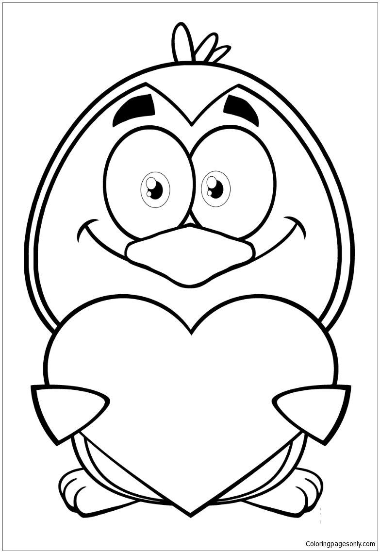 Penguin Cartoon Character Holding A Valentine Heart Coloring Page Valentines Day Coloring Page Heart Coloring Pages Penguin Cartoon