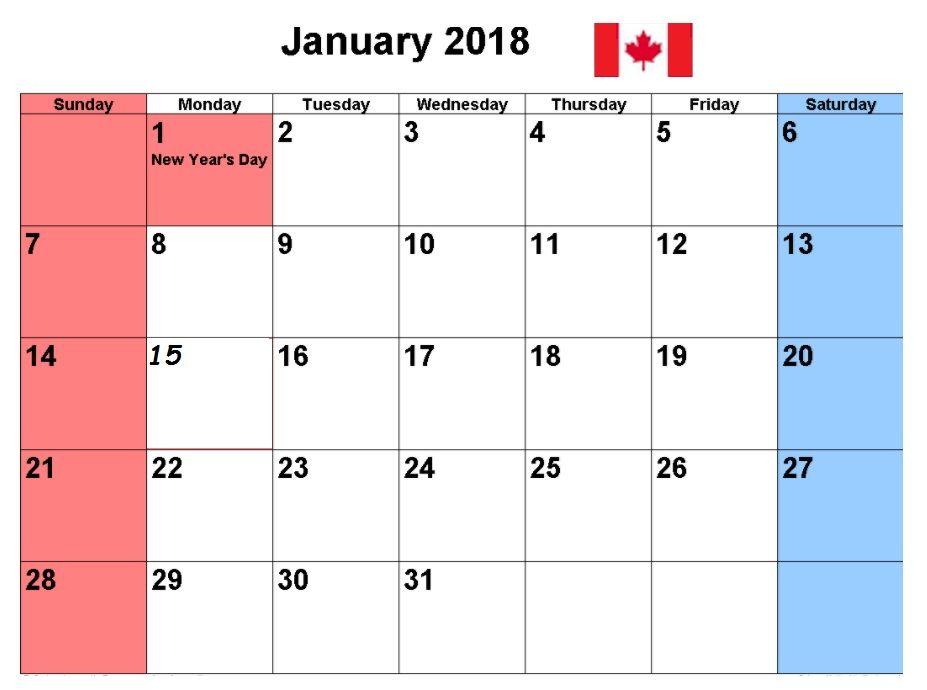 January  Canada Printable Calendar  Calendar