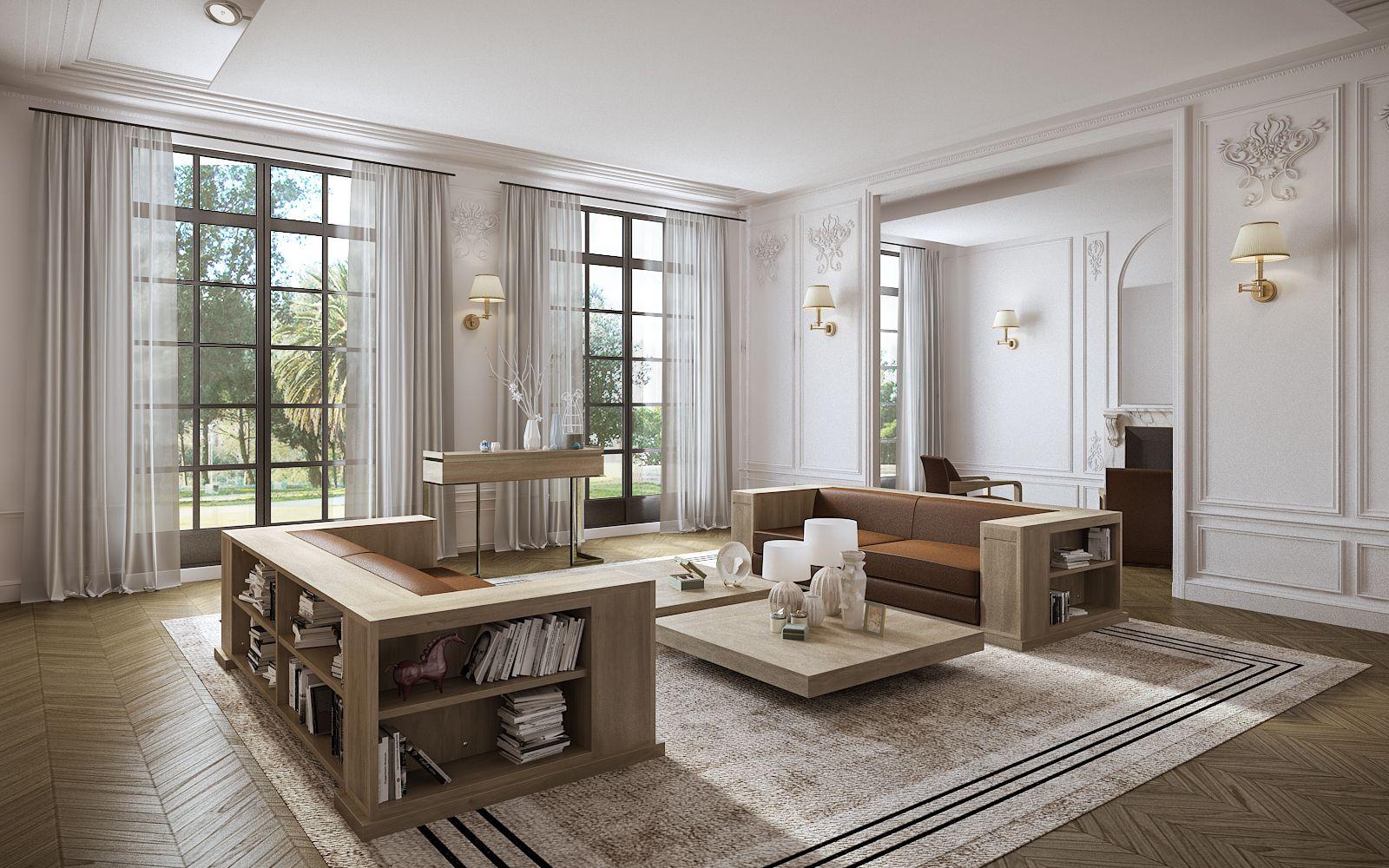 Sofa Living Room Garden Design French Artdeco Contemporary Luxury Salons Luxueux Hugues Chevalier Et Salon Contemporain