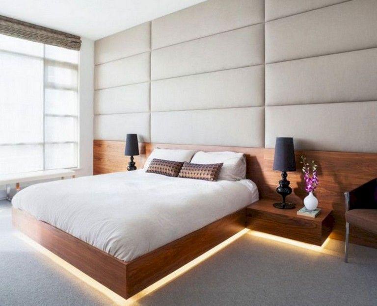 35 Lovely Floating Bed Design Ideas Platform Bed Designs Bed Design Upholstered Walls