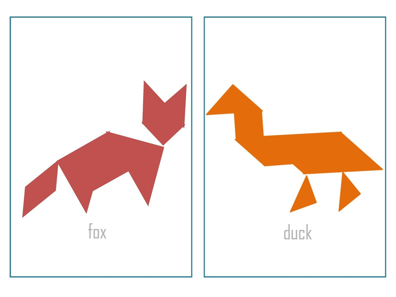 Here S A Set Of Tangram Puzzles With And Without Outlines