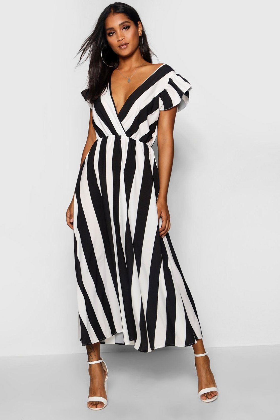 Ruffle Sleeve Plunge Front Stripe Maxi Dress ...