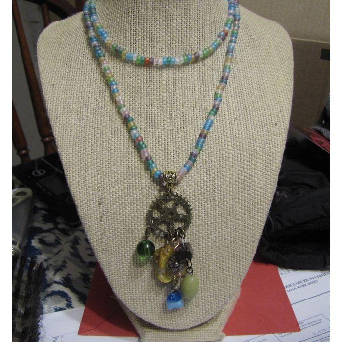 handmade seed bead necklace with handmade pendant