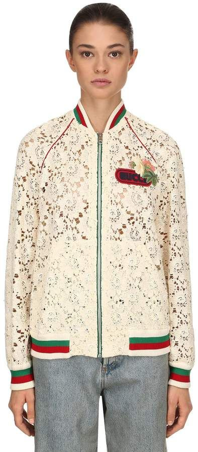 c1bc0bf70 Gucci Flower Leaf Lace Bomber Jacket | Products | Fashion brands ...