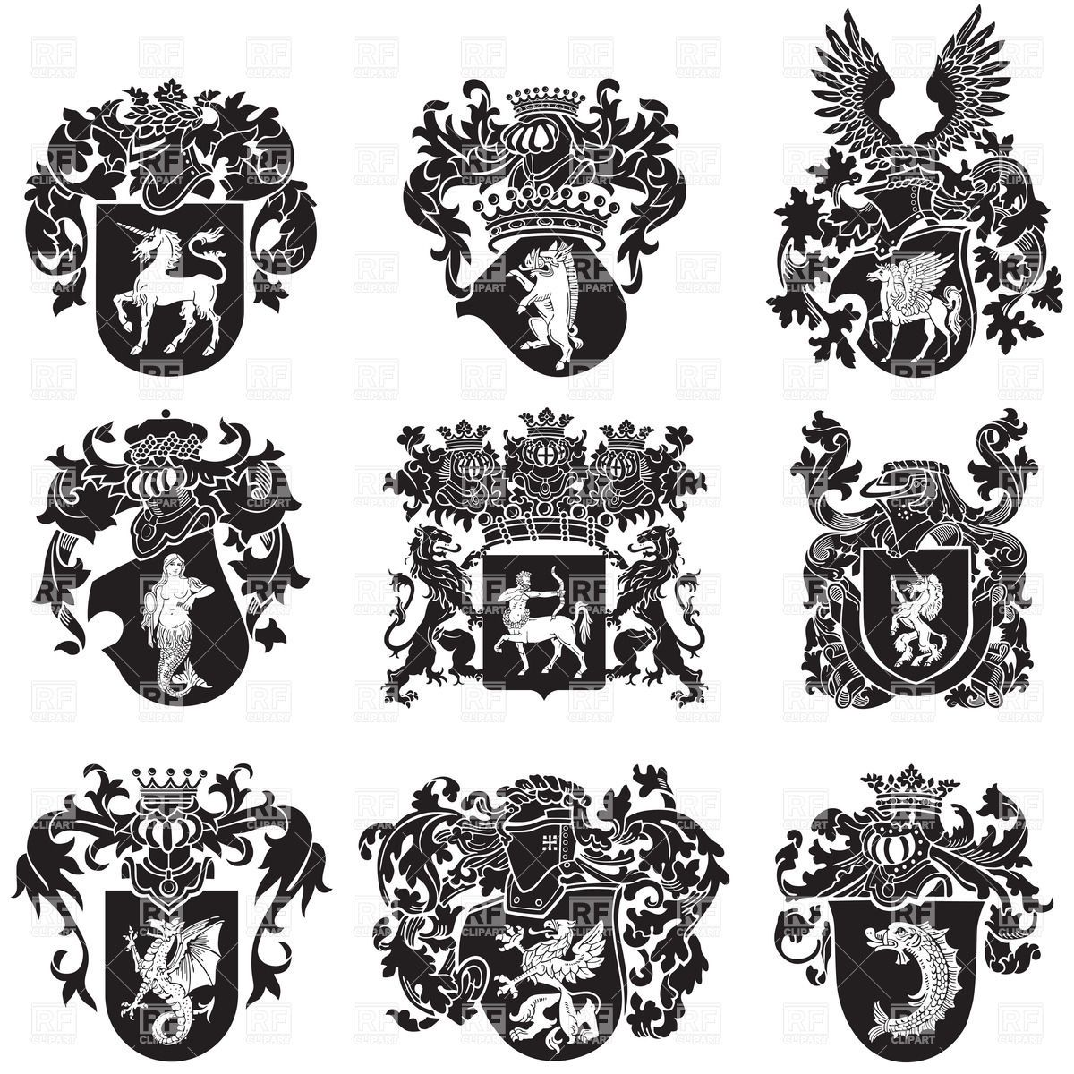 Black Me Val Heraldic Emblems Vector Image Vector