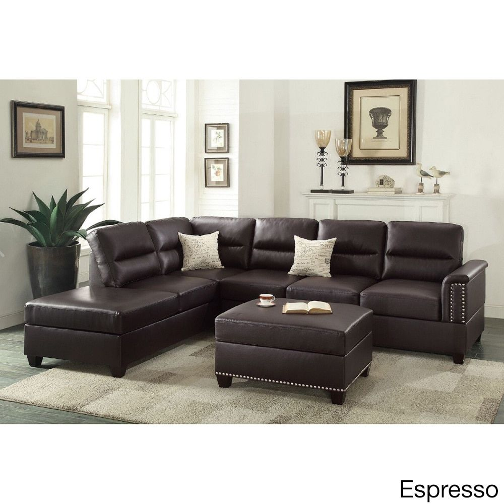 Padres 3 Piece Sectional Sofa Set Leather
