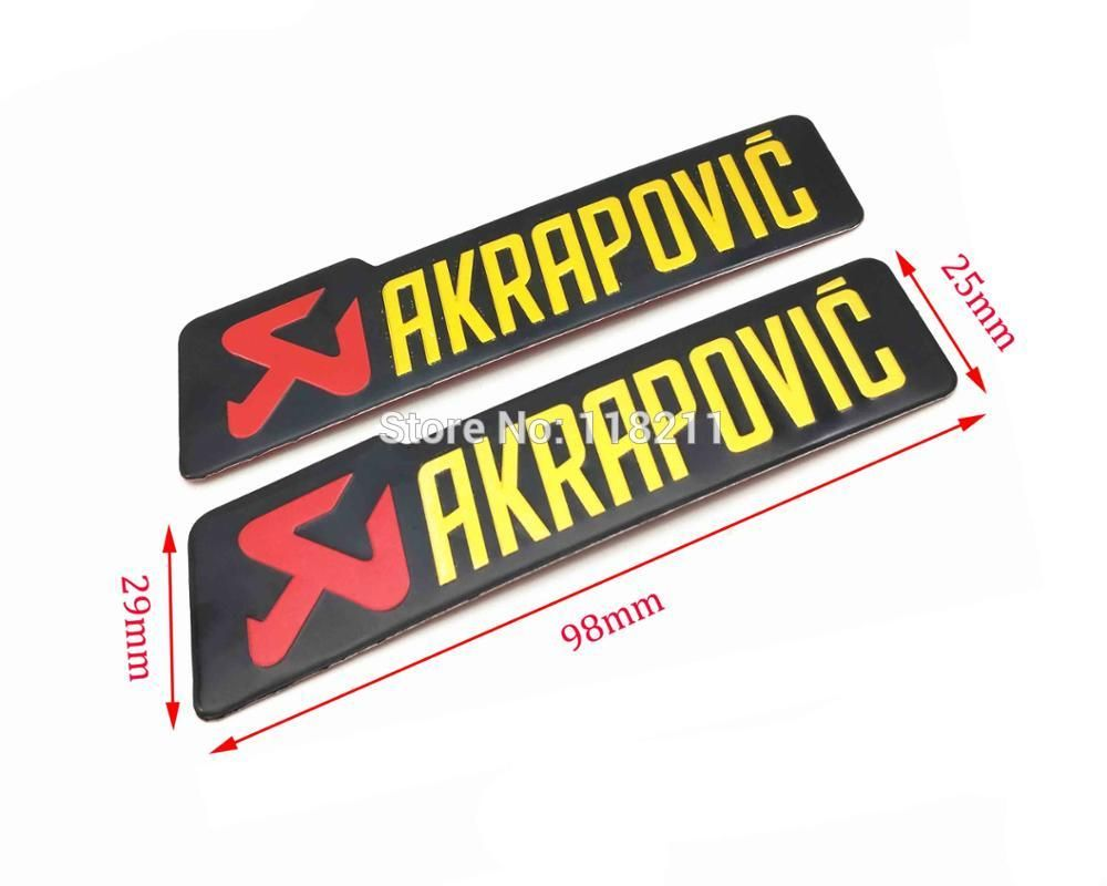 2 Xuniversal 98x29mm Aluminium Label Stickers Akrapovic