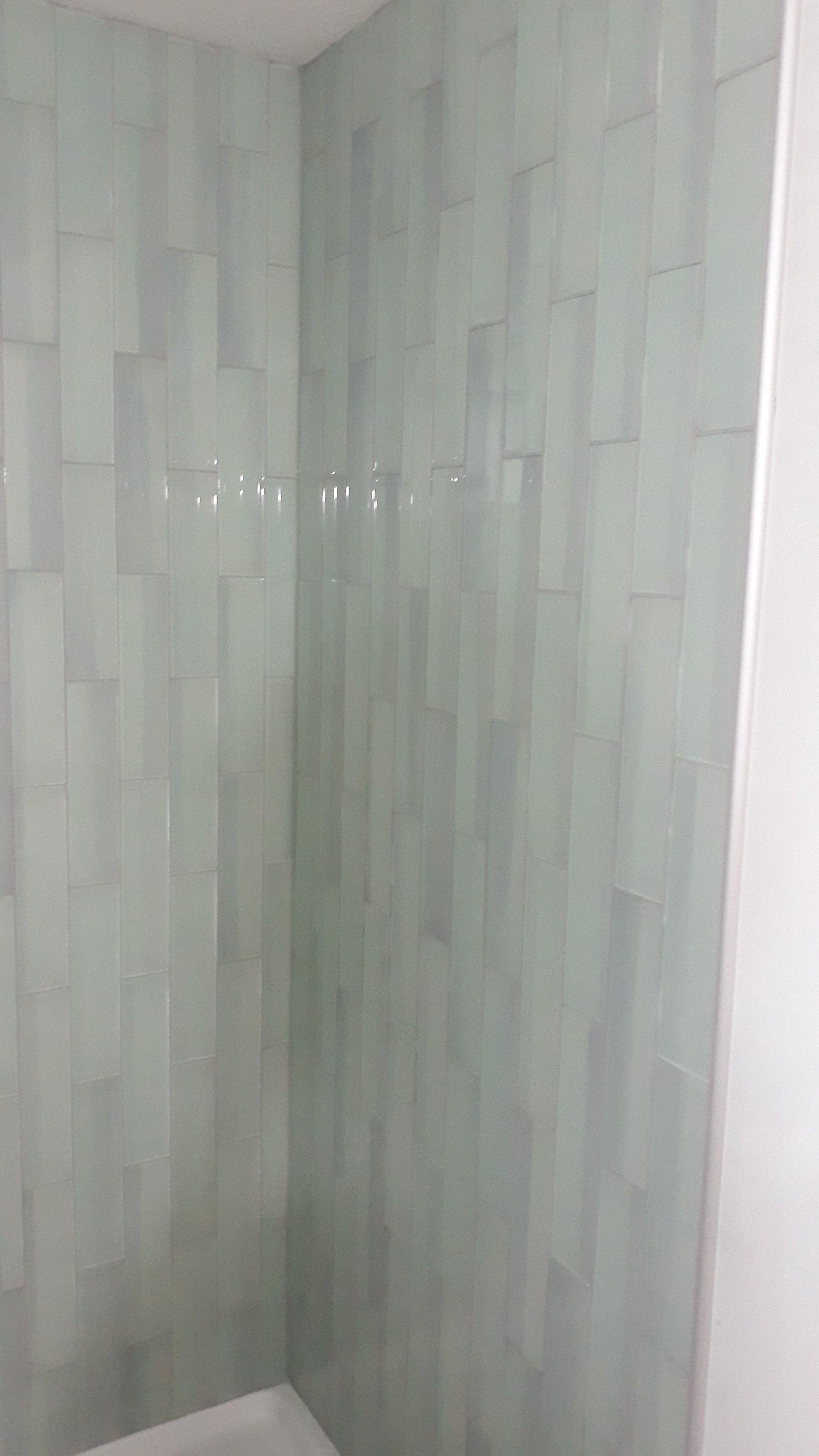 glass subway tile shower surround