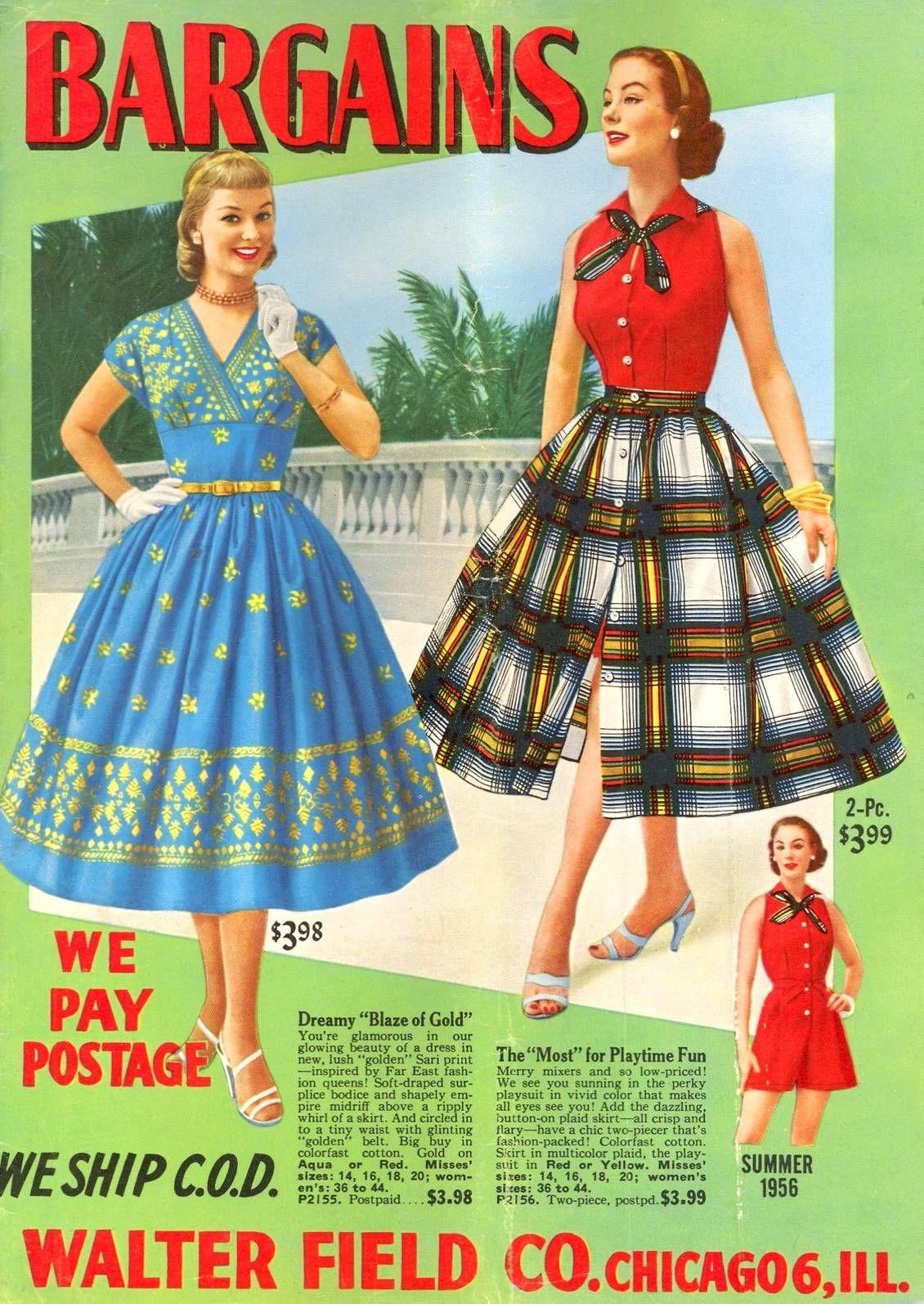 Walter Field Co Chicago Catalog Summer 1956 1950s Summer Fashion Fashion Fifties Fashion [ 1594 x 1130 Pixel ]