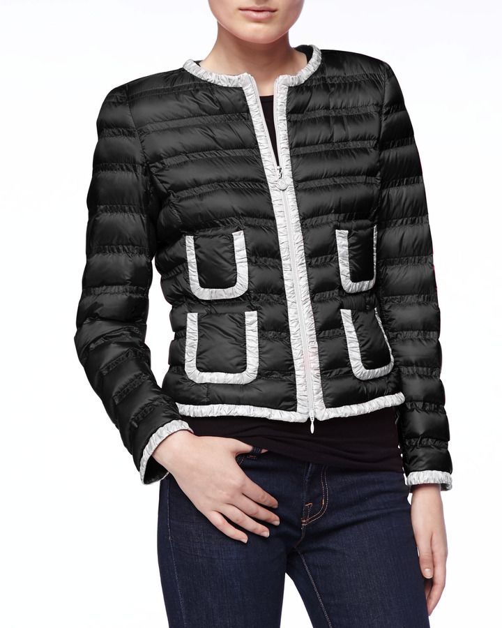 f27045bdb Moncler Contrast-Trim Zip Puffer Jacket, Black/White on shopstyle ...