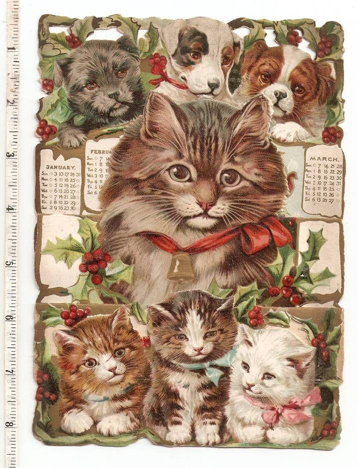 Victorian Christmas Cat Art