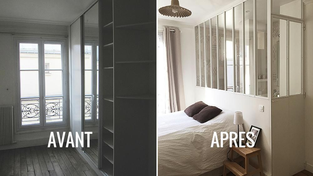 Avant apr s une verri re int rieure pour s parer sans for Verriere interieur maison