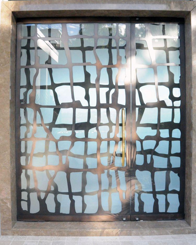 Axolotl Metal Screen Entry Doors With Glass Modern