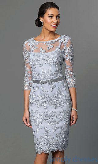 Embroidered Knee Length Formal Evening Dresses