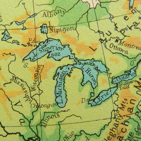 Old Atlas Map Of The Great Lakes Including Lake Superior Lake - Michigan lake maps