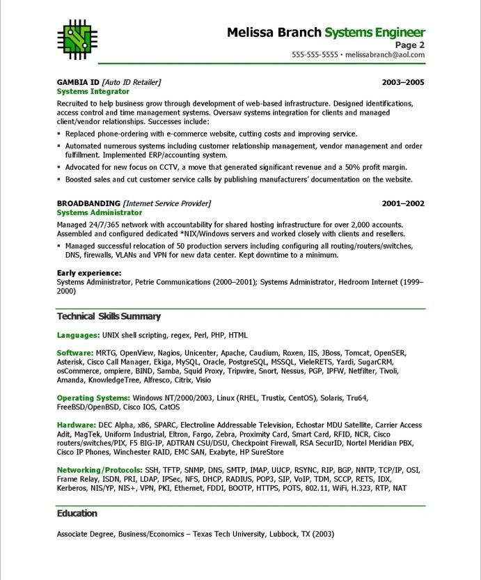 Systems Engineer-Page2 IT Resume Samples Pinterest - resume examples for servers