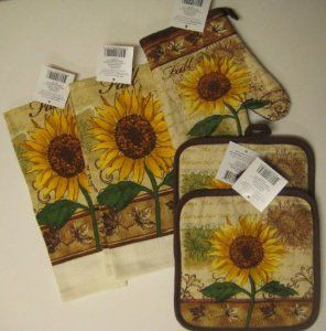 Sunflower Kitchen Amazon Com Fall Sunflower Kitchen Towel Set With Pot Holders And Sunflower Kitchen Sunflower Themed Kitchen Sunflower Home Decor