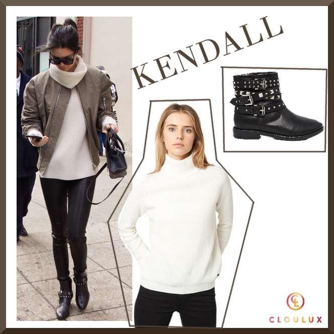 Kendall Jenner im weißen Strickrolli und Schuhen mit Nietenverziehrung