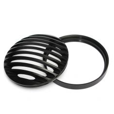 6inch Motorcycle Bullet Halogen Headlight Grill Cover Black CNC Aluminum For Harley