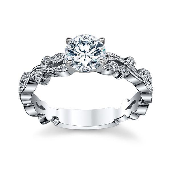Kirk Kara 18K White Gold Diamond Engagement Ring Setting 007 Cttw