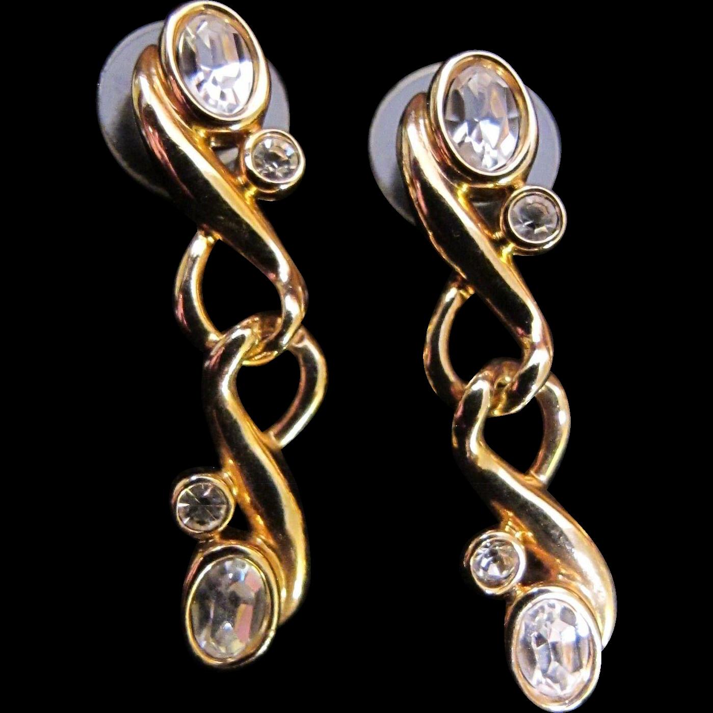 Vintage Swarovski Clear Crystal Dangle Pierced Earrings