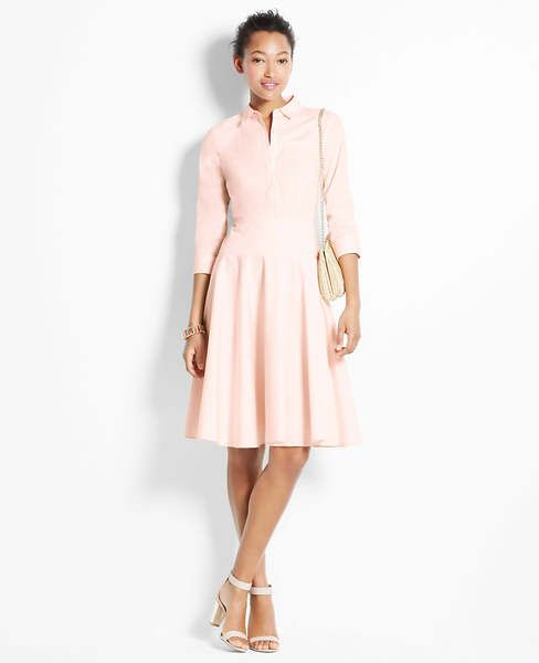 Ann Taylor Getaway Shirt Dress In Champagne Pink Is Going To Be My Go For Summer Events Yourstylistkaren