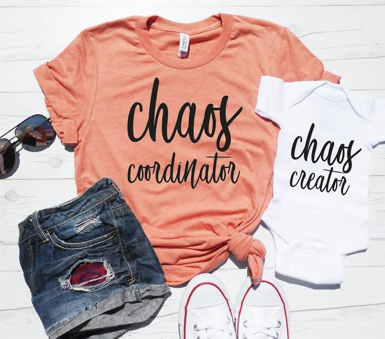 Mommy and Me Shirts | Chaos Coordinator | Chaos Creator | New Mom Christmas Gift | Mom Christmas Shirts | Mother Daughter | Mother Son Set