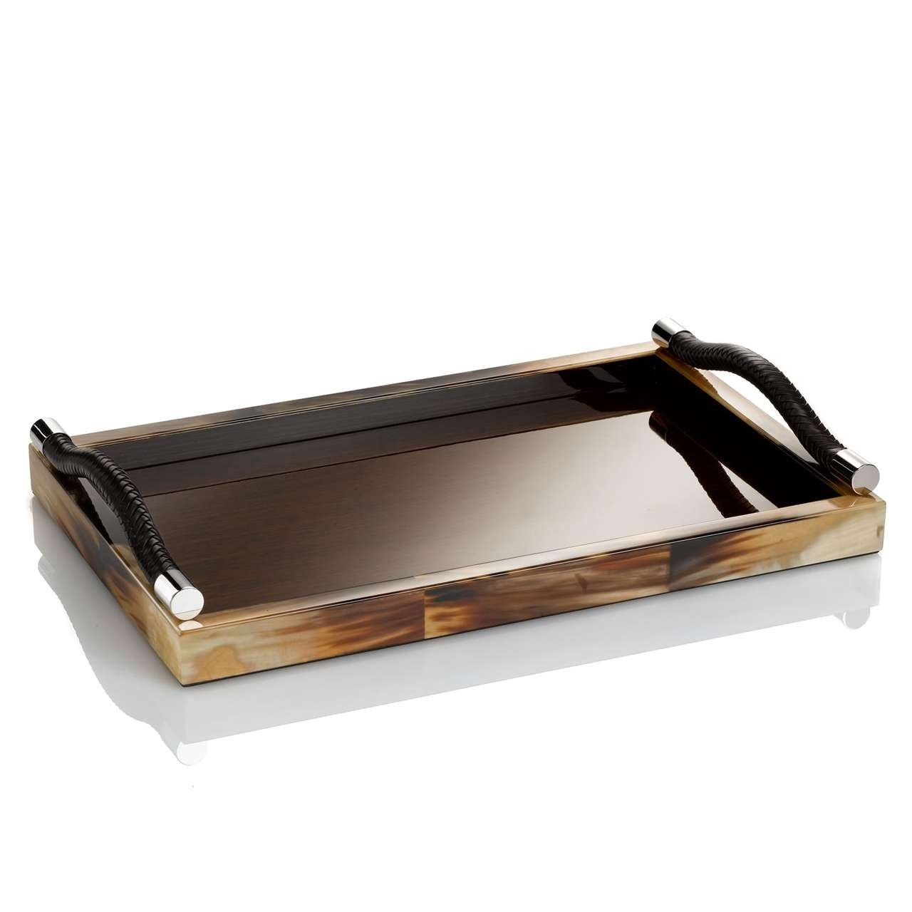 Signature collection luxury lacquered wenge buffalo horn for Wooden canape trays