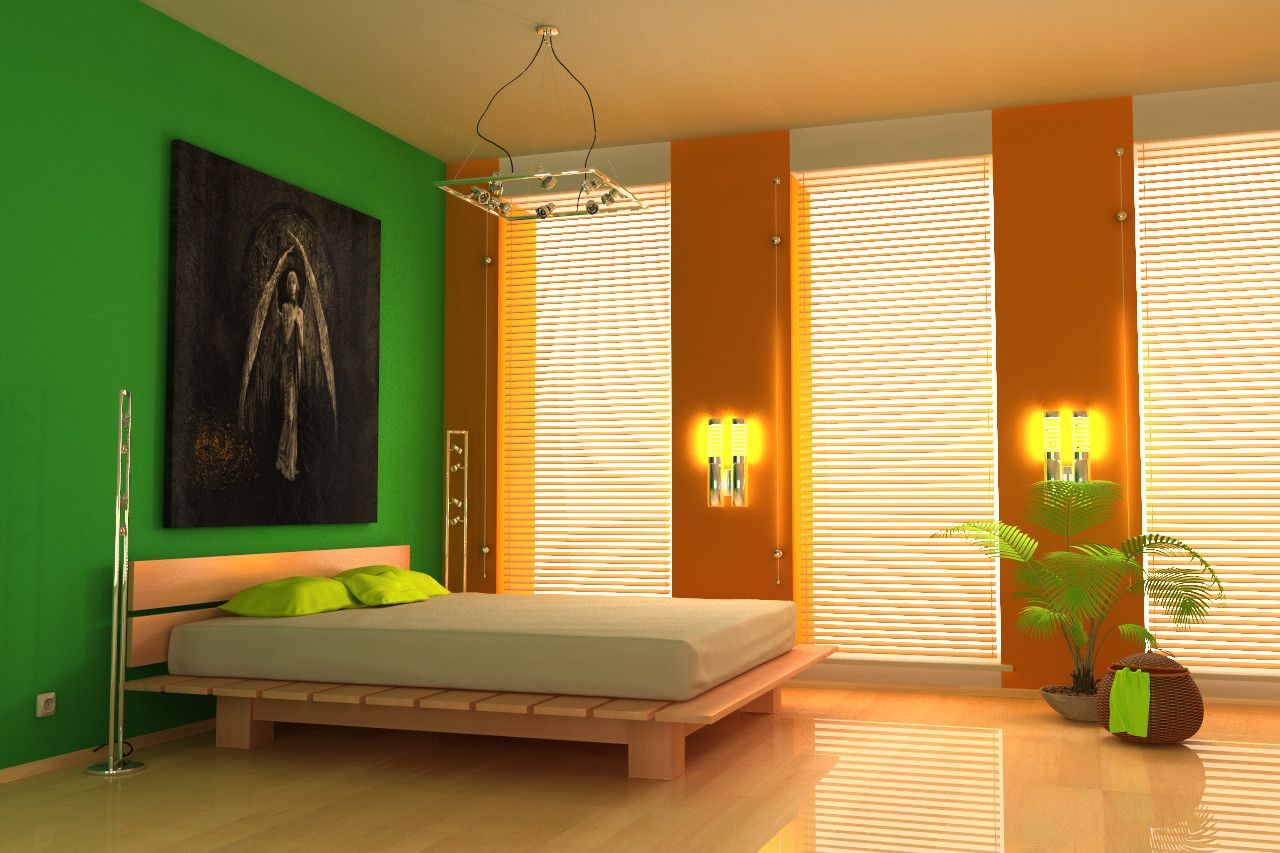 Lively bedroom nuance with light green and orange walls | Bedroom ...