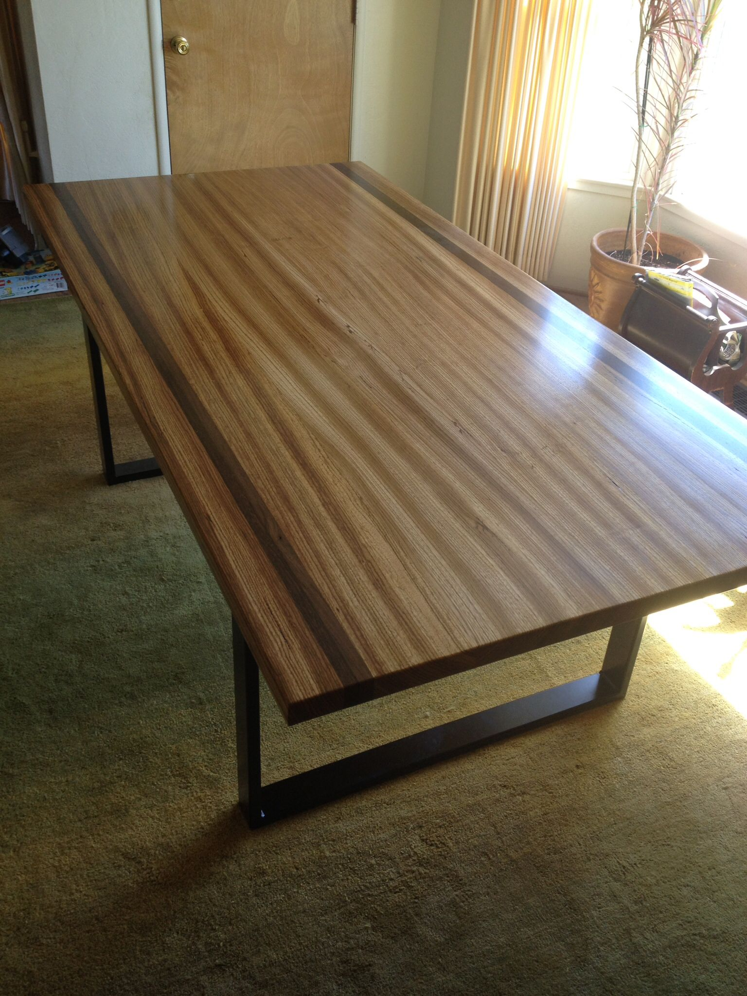 Zebra Wood And Wenge Wood Table With Flat Black Steel Legs