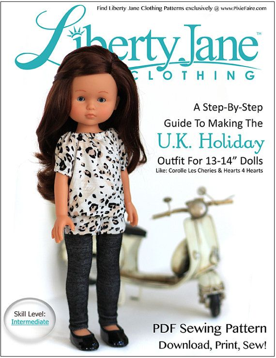 Pixie Faire Liberty Jane U.K. Holiday Outfit Doll Clothes Pattern ...