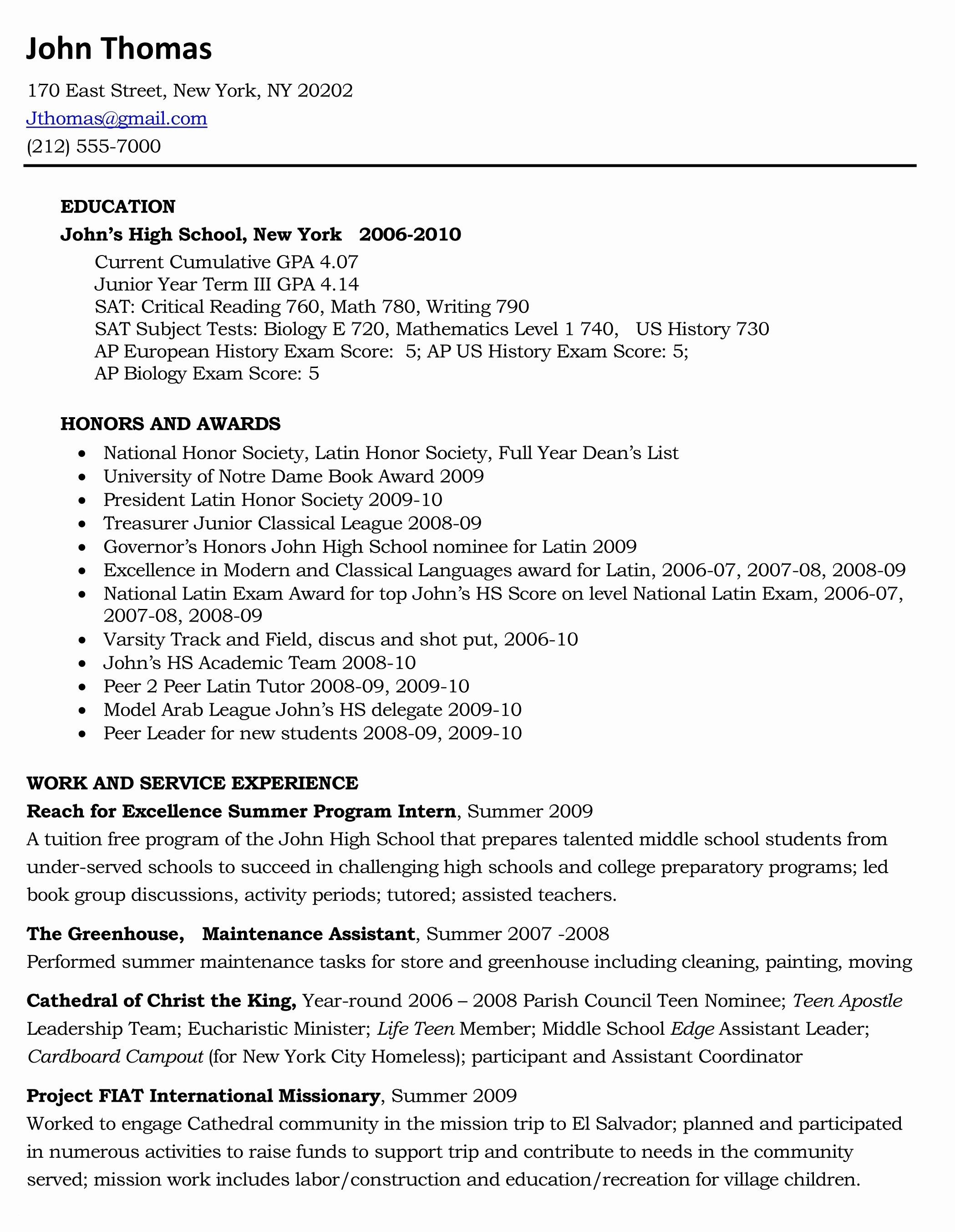 Sample Resume Xls Format High School Resume College Resume