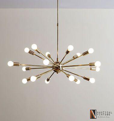 Detail Classic Mid Century Modern polished Brass Sputnik atomic
