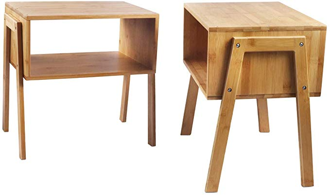 Lasuavy Bamboo Nightstand Stackable Side Table End Table Bedside Table Set Of 2 Kitchen Dining Living Room Table Living Table End Tables