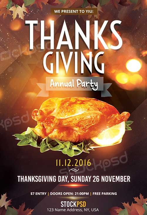 Thanksgiving Annual Party Free Flyer Template Httpfreepsdflyer