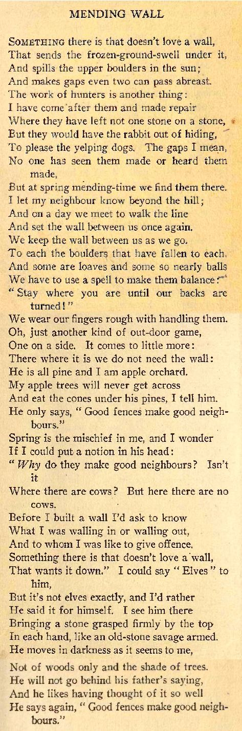 mending wall poem by robert frost