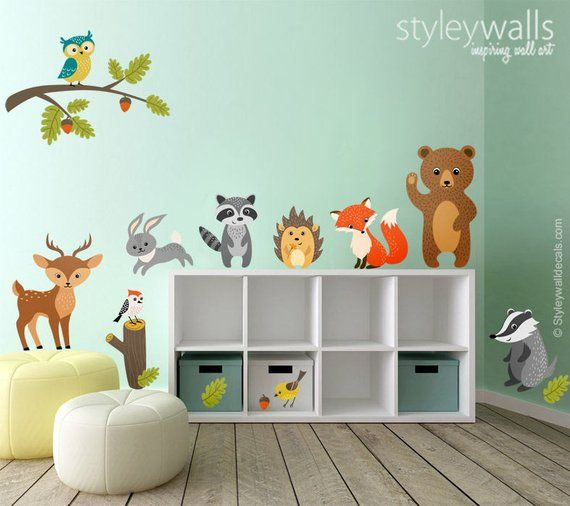 woodland animals wall decal, forest animals wall decal sticker